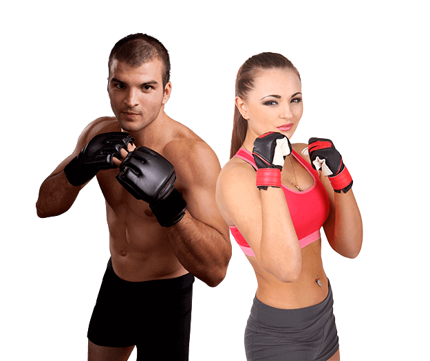 Mixed Martial Arts Lessons for Adults in Hillsborough NJ - Hands up Fitness MMA Man and Woman Footer Banner