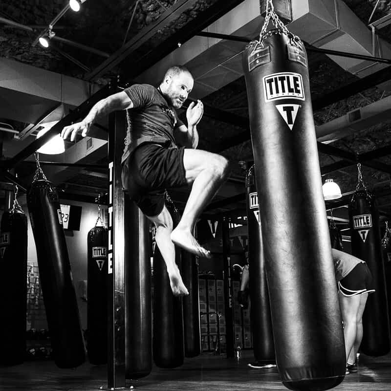 Mixed Martial Arts Lessons for Adults in Hillsborough NJ - Flying Knee Black and White MMA