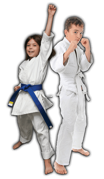 Martial Arts Lessons for Kids in Hillsborough NJ - Happy Blue Belt Girl and Focused Boy Banner