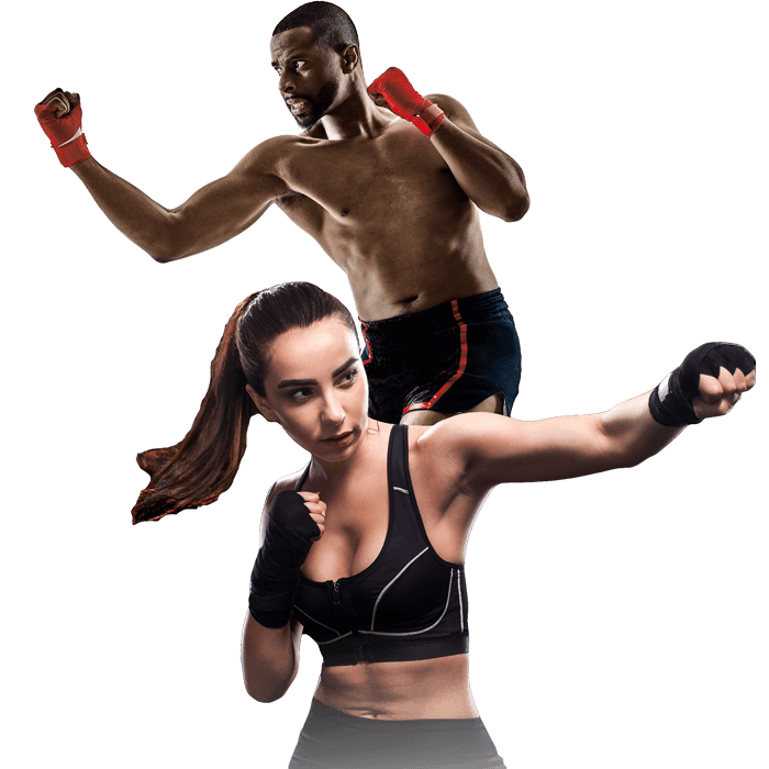 Mixed Martial Arts Lessons for Adults in Hillsborough NJ - Man and Woman Punching Hooks